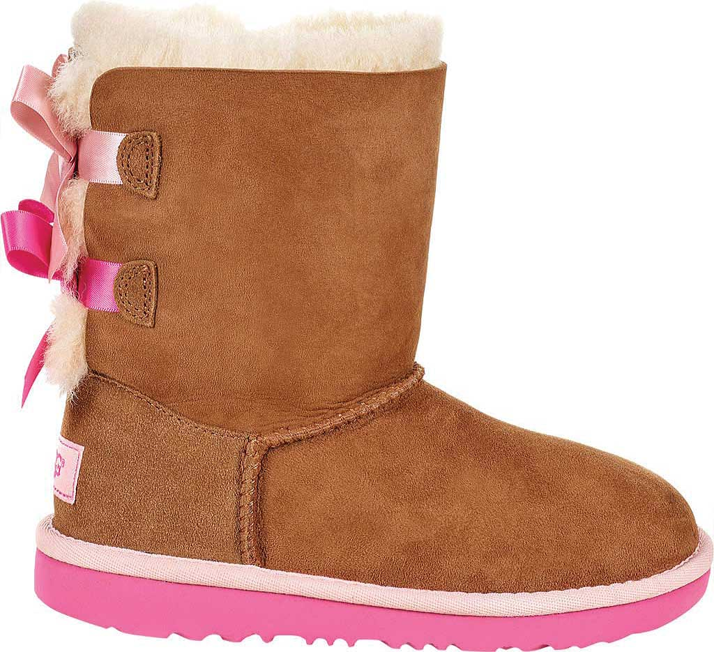Children's UGG Bailey Bow II Kids Boot, Chestnut/Pink Azalea Twinface, large, image 2