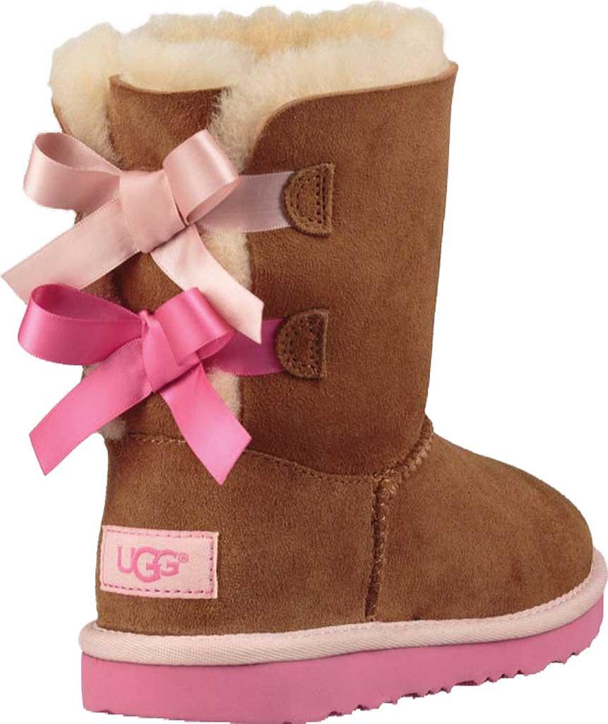 Children's UGG Bailey Bow II Kids Boot, Chestnut/Pink Azalea Twinface, large, image 4