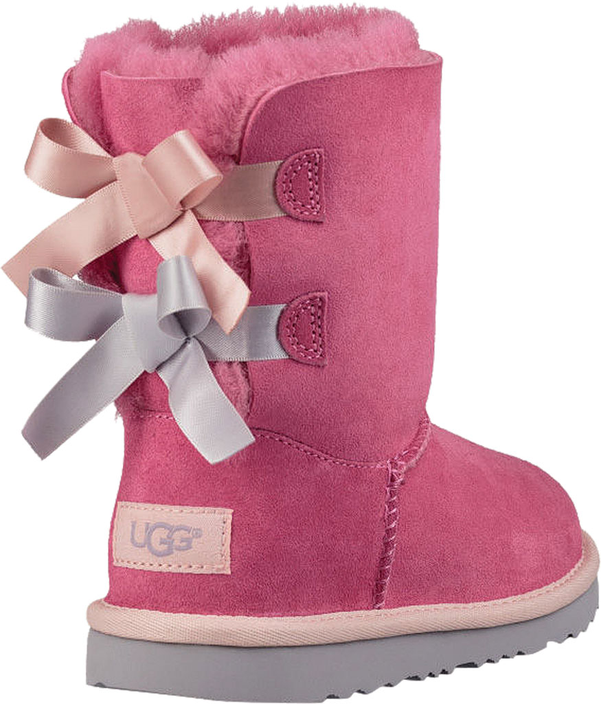 Children's UGG Bailey Bow II Kids Boot, Pink Azalea/Icelandic Blue Twinface, large, image 4