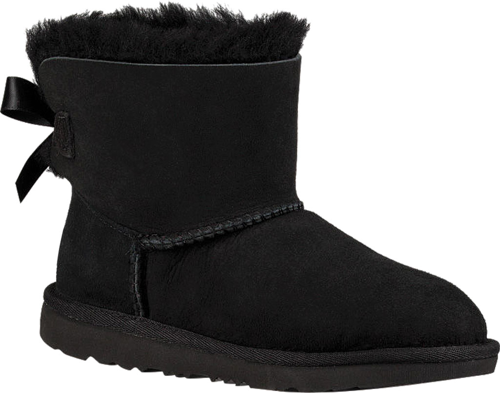Children's UGG Mini Bailey Bow II Kids Boot, Black Twinface, large, image 1