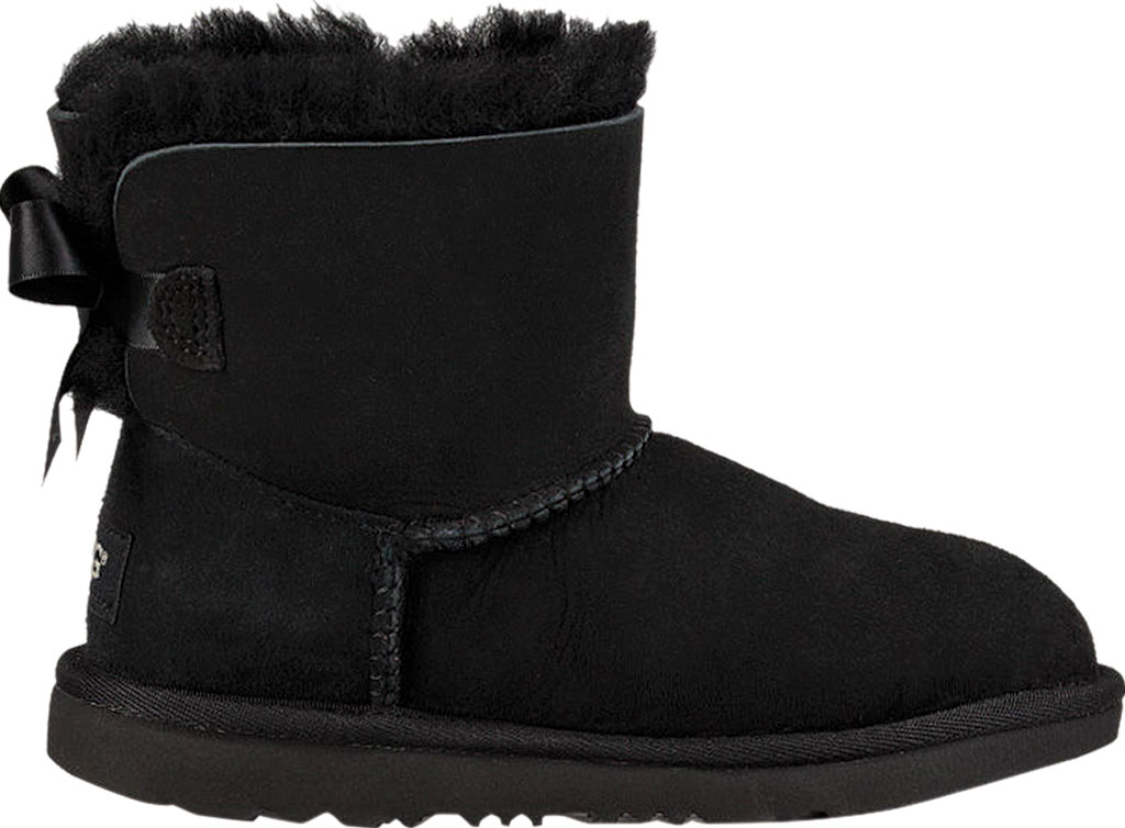 Children's UGG Mini Bailey Bow II Kids Boot, Black Twinface, large, image 2