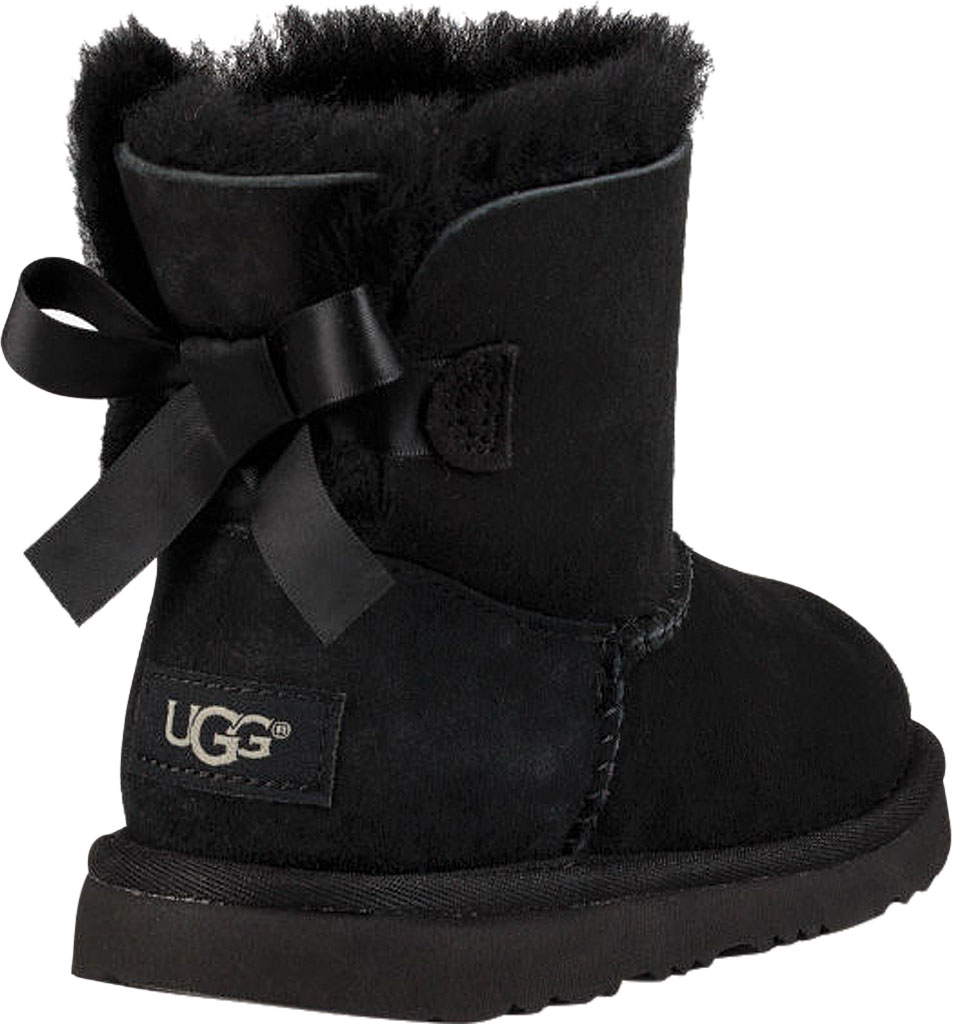 Children's UGG Mini Bailey Bow II Kids Boot, Black Twinface, large, image 4