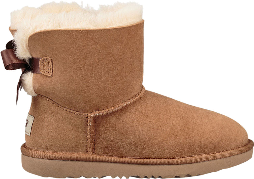 Children's UGG Mini Bailey Bow II Kids Boot, Chestnut Twinface, large, image 2