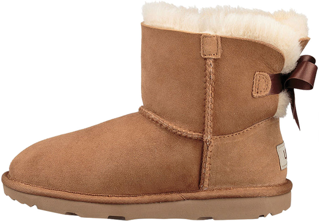 Children's UGG Mini Bailey Bow II Kids Boot, Chestnut Twinface, large, image 3