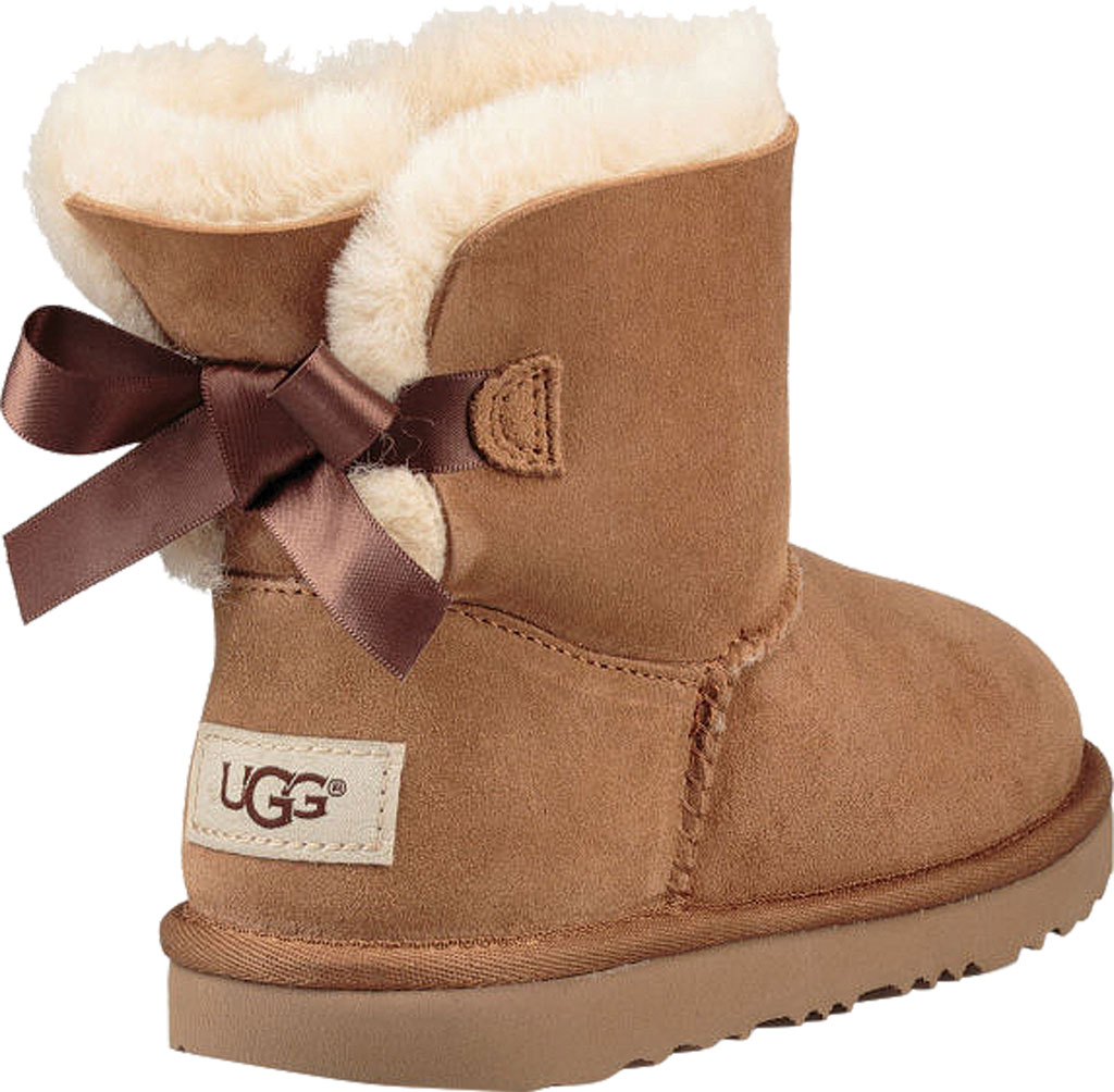 Children's UGG Mini Bailey Bow II Kids Boot, Chestnut Twinface, large, image 4
