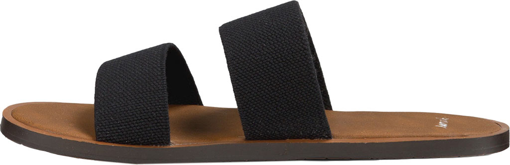 Women's Sanuk Yoga Gora Gora Slide, Black Synthetic, large, image 3