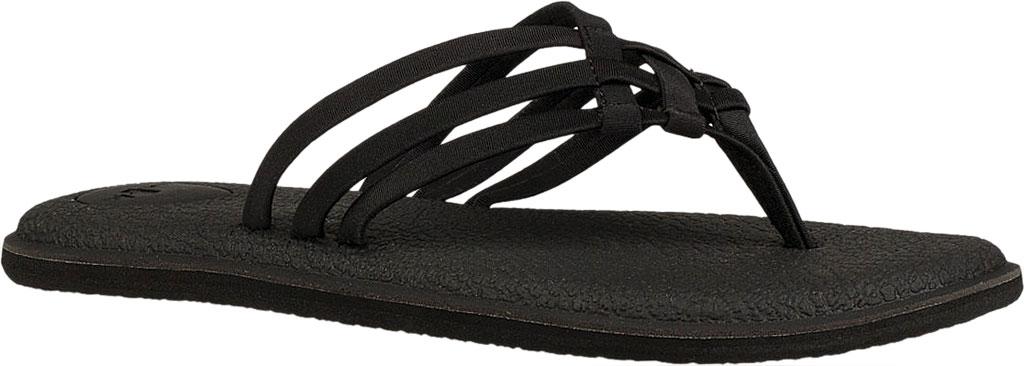 Women's Sanuk Yoga Salty Thong Sandal, Black Synthetic, large, image 1