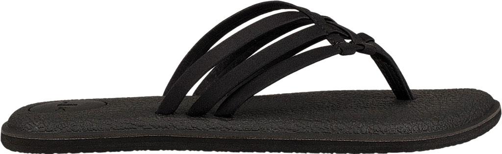 Women's Sanuk Yoga Salty Thong Sandal, Black Synthetic, large, image 2