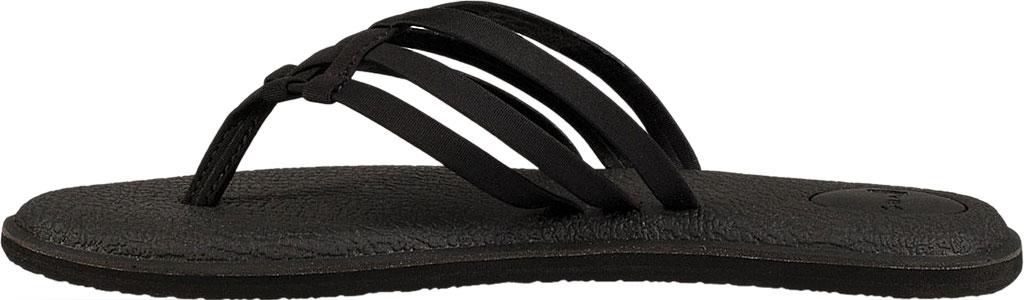 Women's Sanuk Yoga Salty Thong Sandal, Black Synthetic, large, image 3