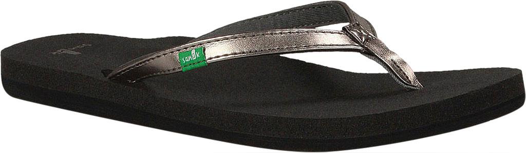 Women's Sanuk Yoga Joy Metallic Thong Sandal, Pewter Metallic Synthetic, large, image 1