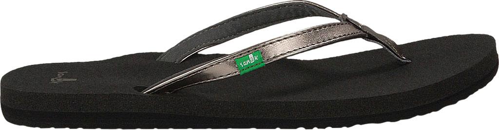 Women's Sanuk Yoga Joy Metallic Thong Sandal, Pewter Metallic Synthetic, large, image 2