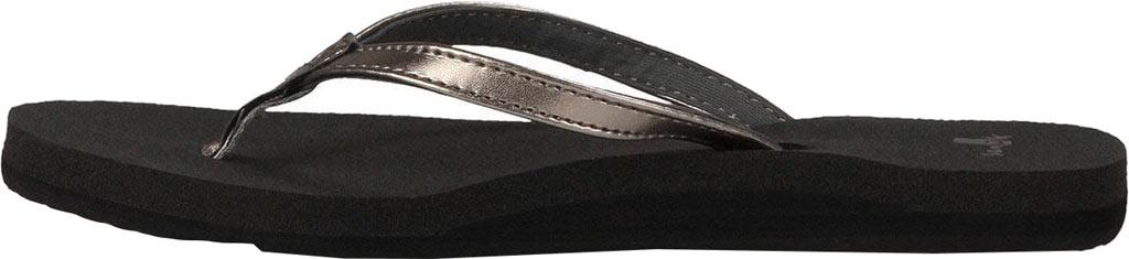 Women's Sanuk Yoga Joy Metallic Thong Sandal, Pewter Metallic Synthetic, large, image 3