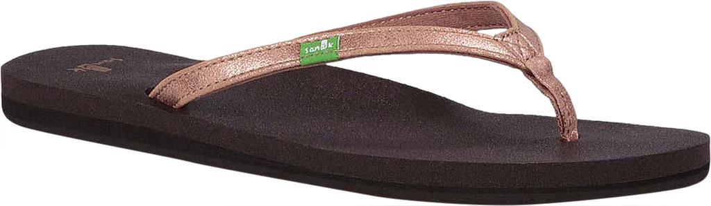 Women's Sanuk Yoga Joy Metallic Thong Sandal, Rose Gold Metallic Synthetic, large, image 1