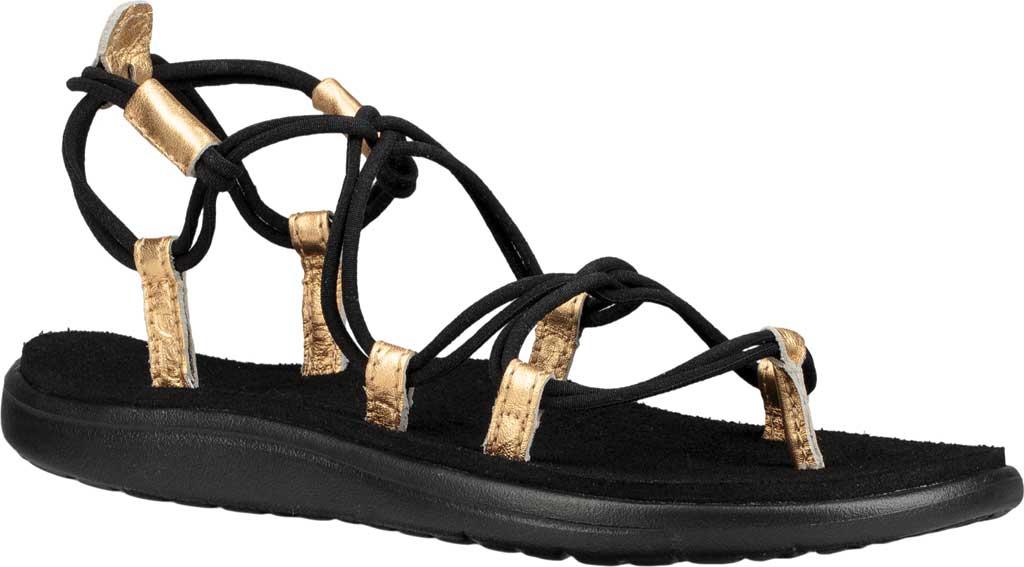 Women's Teva Voya Infinity Strappy Sandal, Black/Gold Polyester, large, image 1