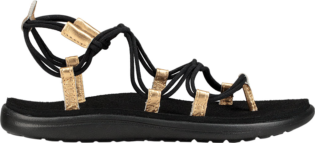 Women's Teva Voya Infinity Strappy Sandal, Black/Gold Polyester, large, image 2