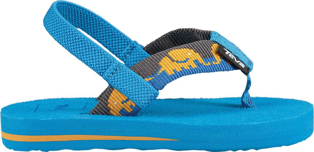 Infant Teva Mush II Thong Sandal, Elephants Brilliant Blue Textile, large, image 2