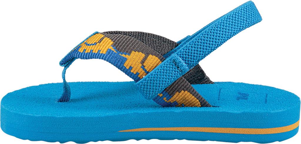 Infant Teva Mush II Thong Sandal, Elephants Brilliant Blue Textile, large, image 3