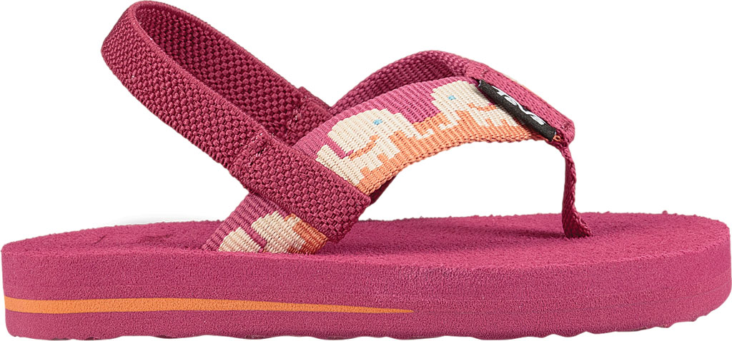 Infant Teva Mush II Thong Sandal, Elephants Vivacious Pink Textile, large, image 2