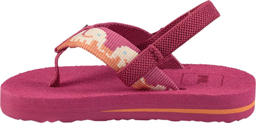 Infant Teva Mush II Thong Sandal, Elephants Vivacious Pink Textile, large, image 3