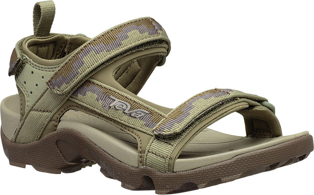 Children's Teva Tanza Strappy Sandal - Little Kid, Steps Dark Olive Textile/Synthetic, large, image 1