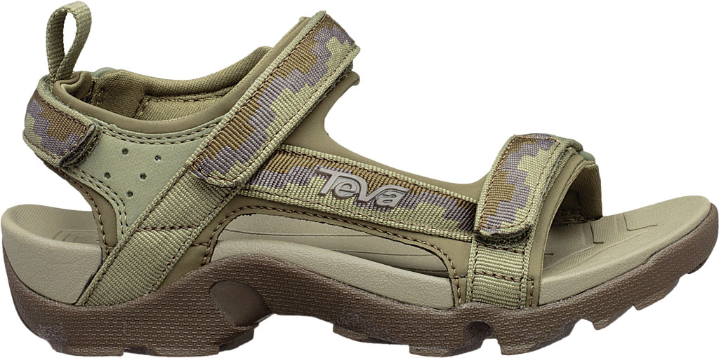 Children's Teva Tanza Strappy Sandal - Little Kid, Steps Dark Olive Textile/Synthetic, large, image 2