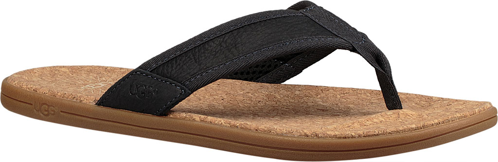 Men's UGG Seaside Flip Flop, Navy Leather, large, image 1