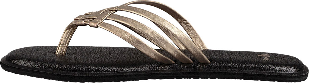 Women's Sanuk Yoga Salty Metallic Flip Flop, Champagne/Champagne Synthetic, large, image 3