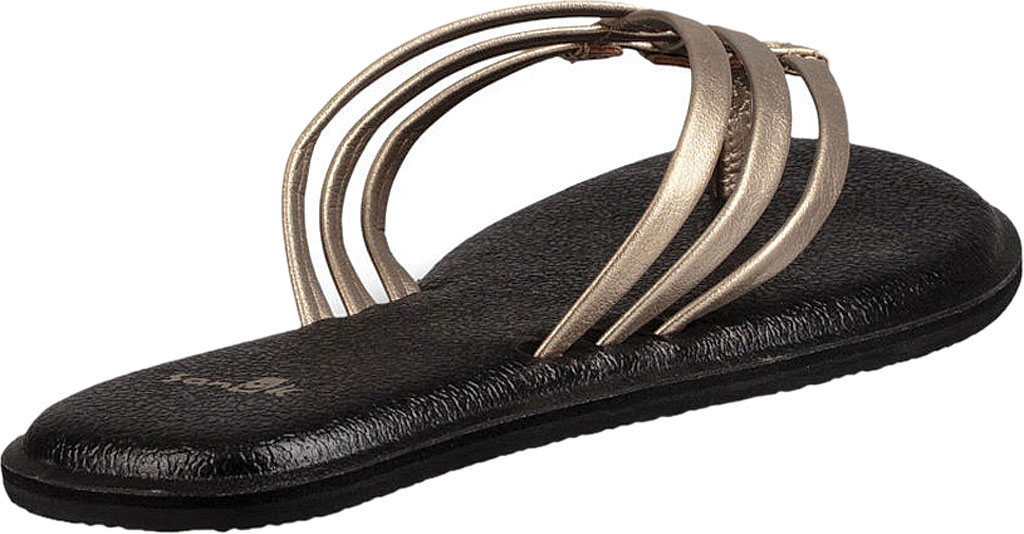 Women's Sanuk Yoga Salty Metallic Flip Flop, Champagne/Champagne Synthetic, large, image 4