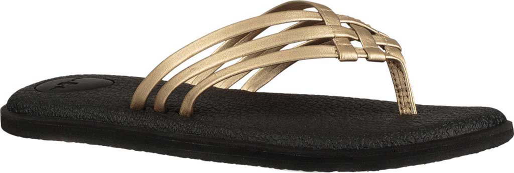Women's Sanuk Yoga Salty Metallic Flip Flop, Champagne/Champagne Synthetic, large, image 1