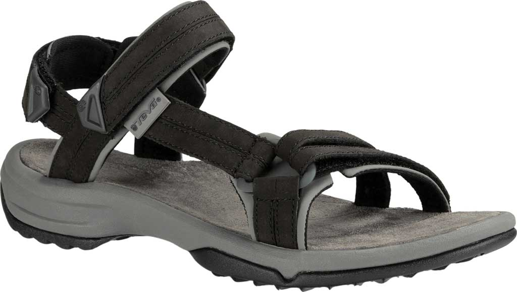 Teva Terra FI Lite Leather Womens Black Velcro Walking Sports Sandals Shoes