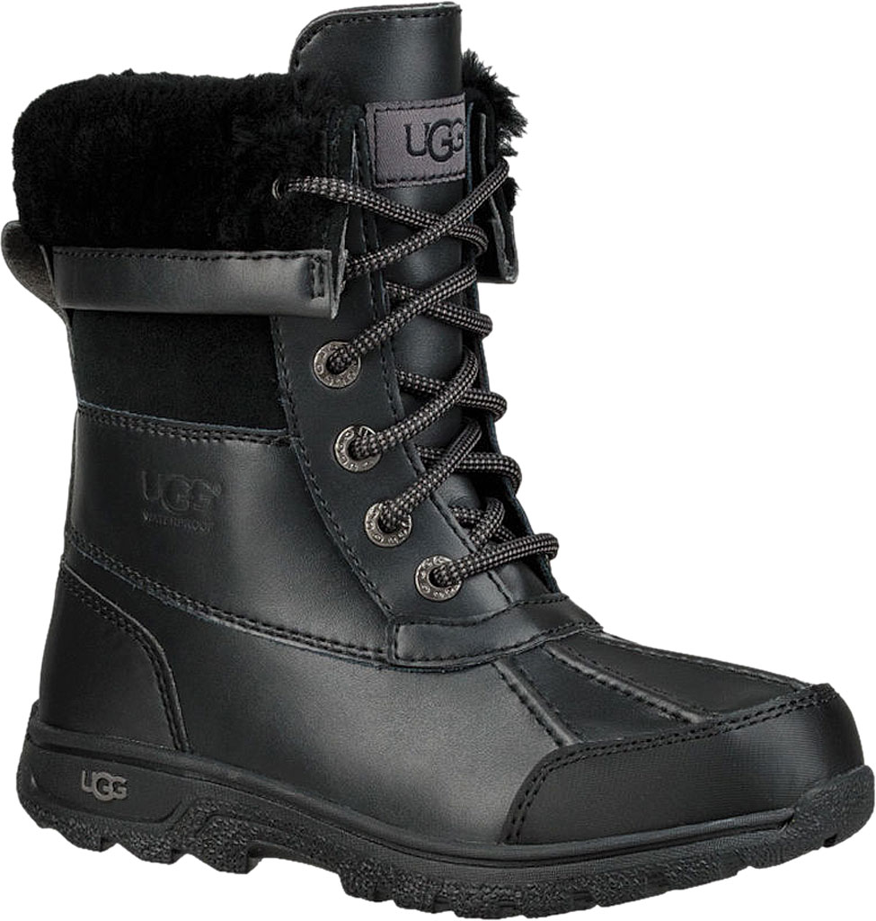 Children's UGG Butte II CWR Winter Boot, Black Leather/Suede, large, image 1