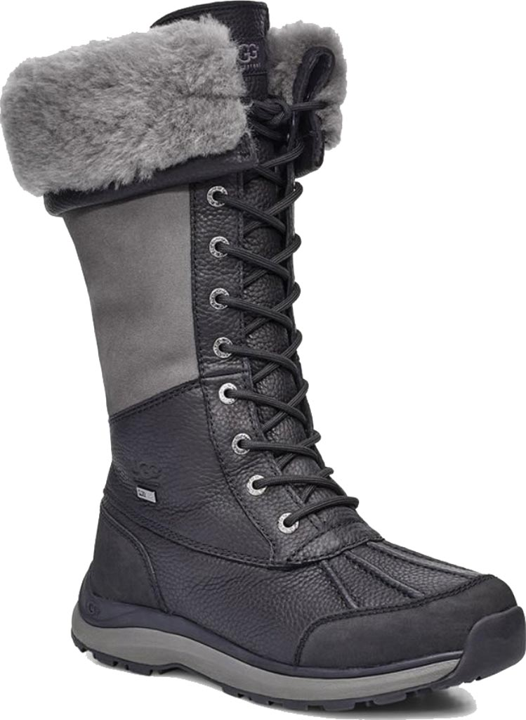 Women's UGG Adirondack Tall III Winter Boot, Black Leather, large, image 1
