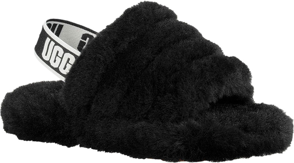 Children's UGG Fluff Yeah Slingback, Black Sheepskin, large, image 1