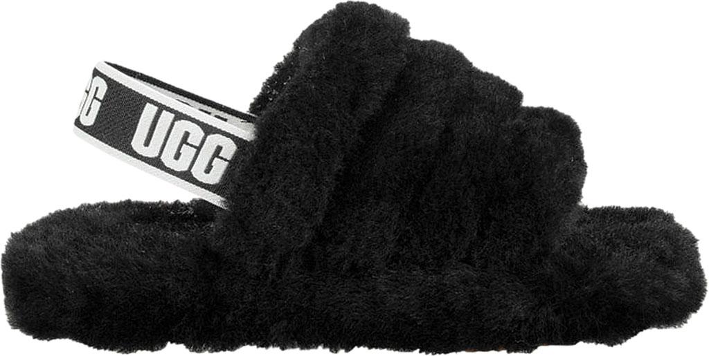 Children's UGG Fluff Yeah Slingback, Black Sheepskin, large, image 2