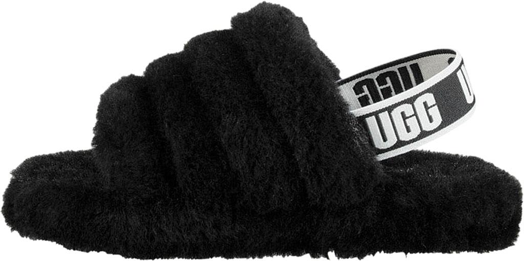 Children's UGG Fluff Yeah Slingback, Black Sheepskin, large, image 3