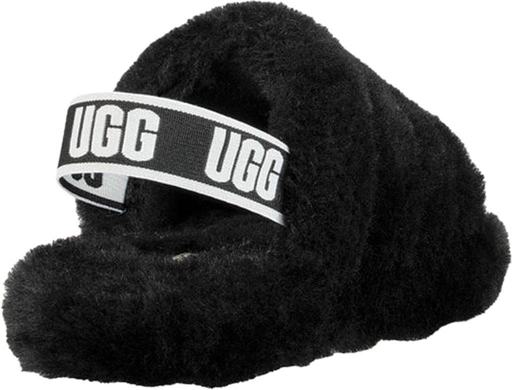 Children's UGG Fluff Yeah Slingback, Black Sheepskin, large, image 4