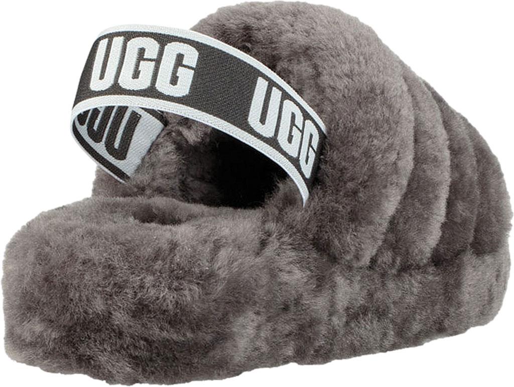 Women's UGG Fluff Slingback, Charcoal Sheepskin, large, image 4