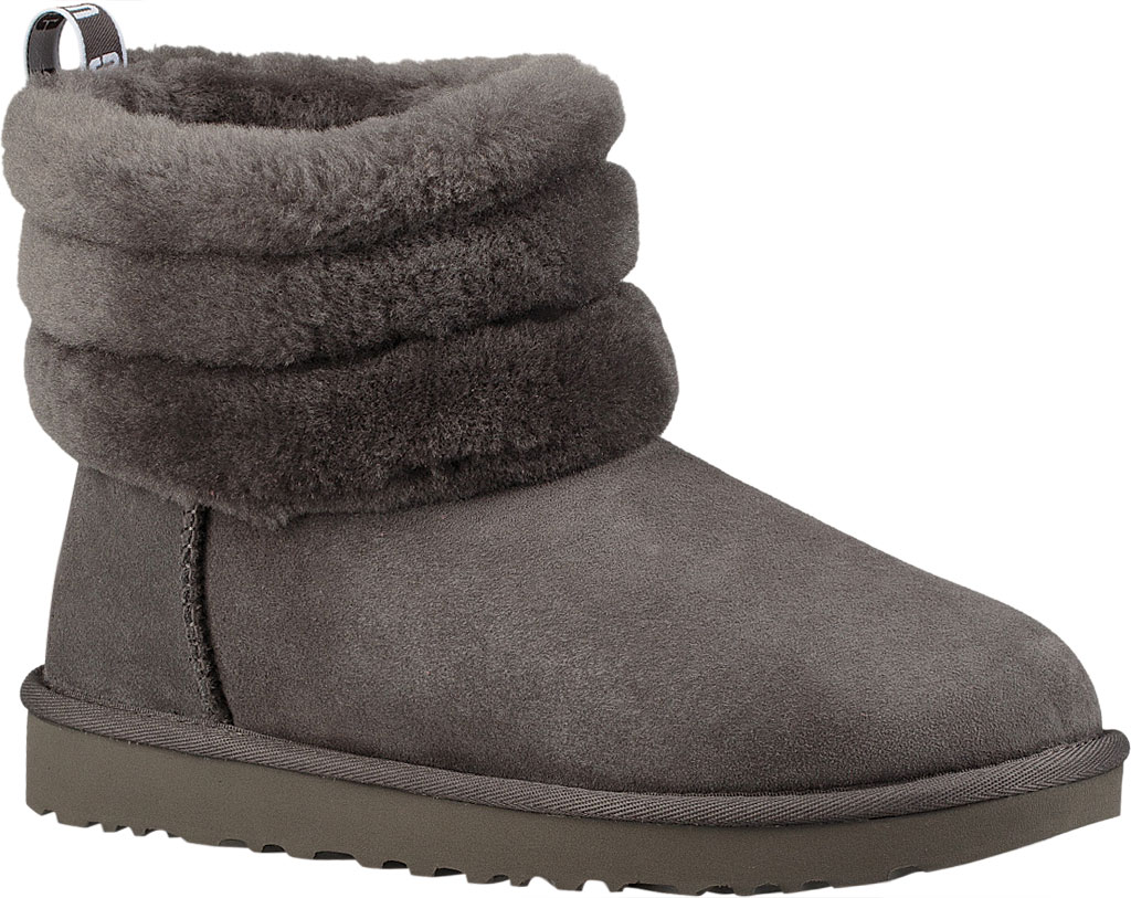 Women's UGG Fluff Mini Quilted Bootie, Charcoal Twinface, large, image 1