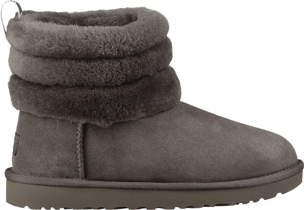 Women's UGG Fluff Mini Quilted Bootie, Charcoal Twinface, large, image 2