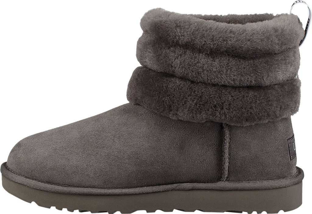 Women's UGG Fluff Mini Quilted Bootie, Charcoal Twinface, large, image 3