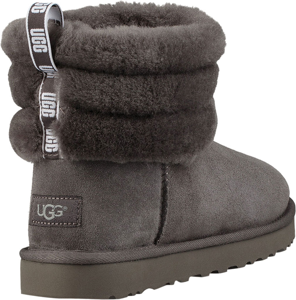 Women's UGG Fluff Mini Quilted Bootie, Charcoal Twinface, large, image 4