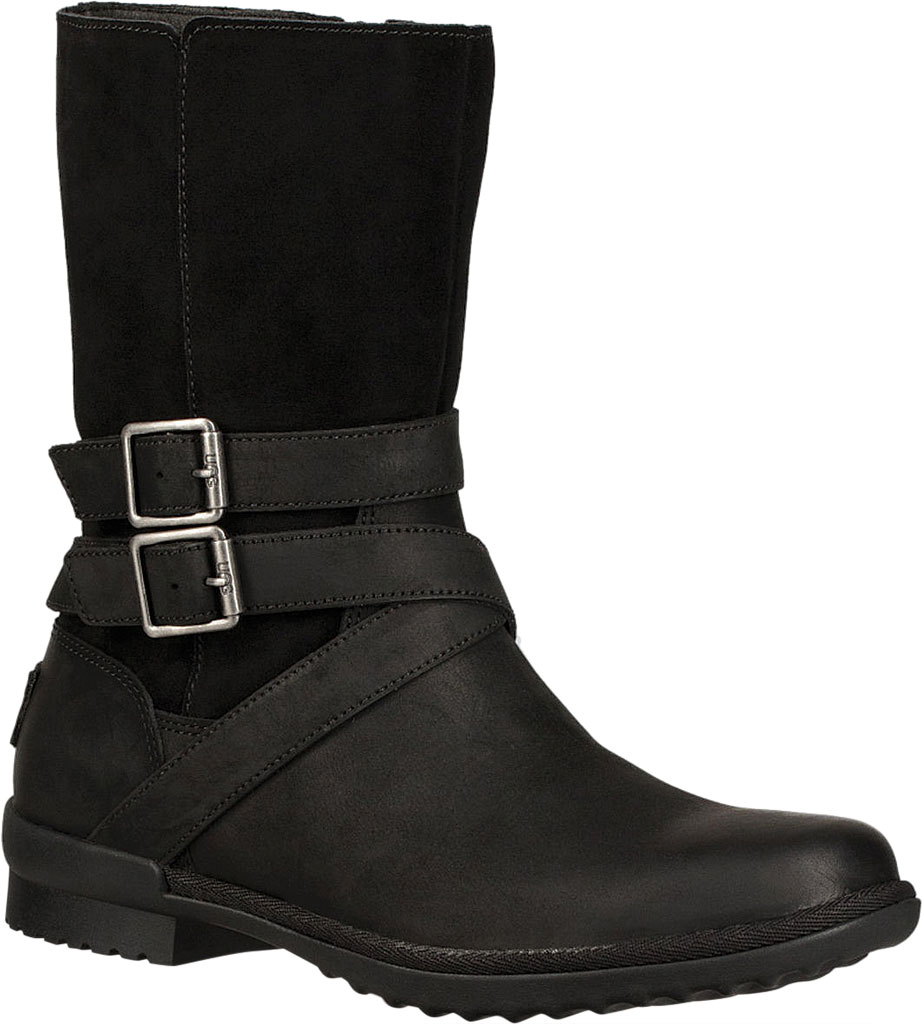 Women's UGG Lorna Mid Calf Boot, Black Leather/Suede, large, image 1