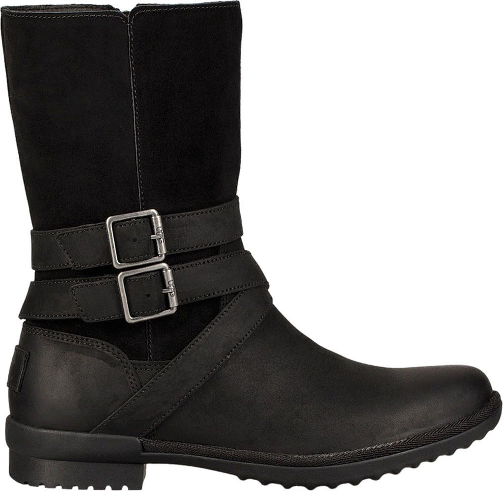 Women's UGG Lorna Mid Calf Boot, Black Leather/Suede, large, image 2