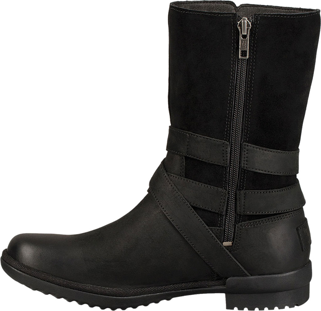 Women's UGG Lorna Mid Calf Boot, Black Leather/Suede, large, image 3