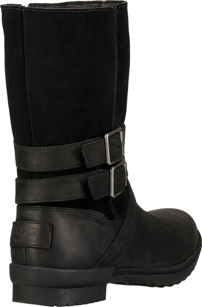 Women's UGG Lorna Mid Calf Boot, Black Leather/Suede, large, image 4