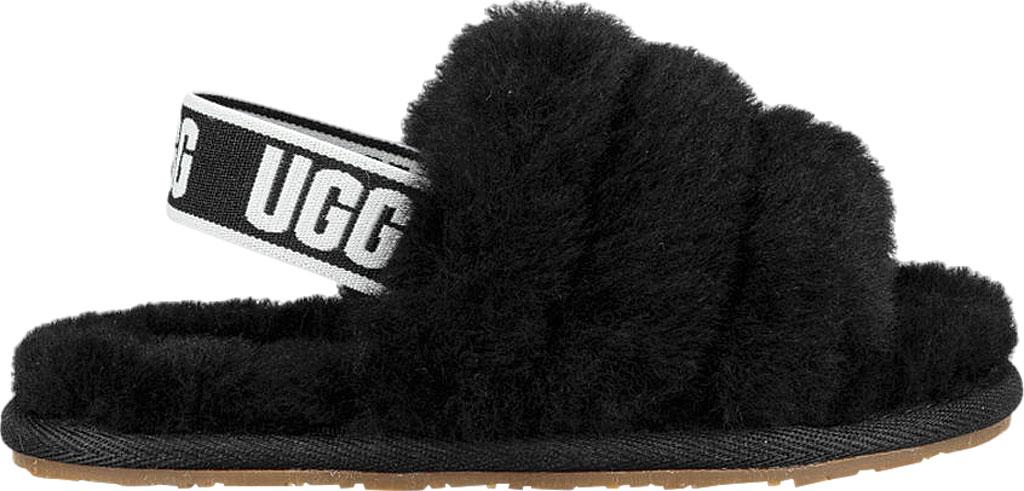 Infant UGG Fluff Yeah Slingback, Black Sheepskin, large, image 2