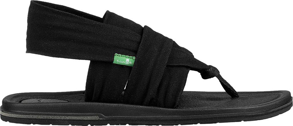 Women's Sanuk Yoga 3 Strap Slingback, Black Canvas, large, image 2