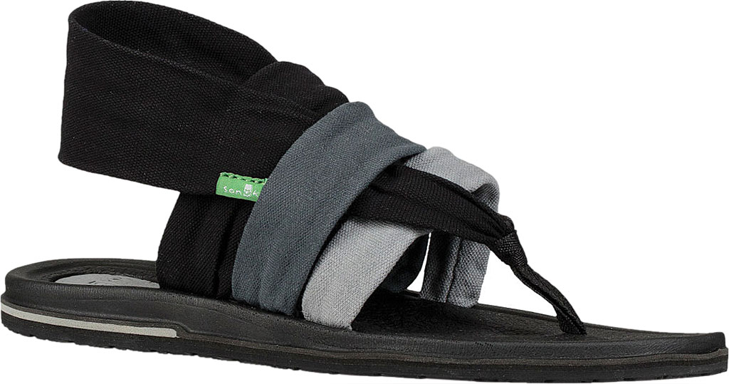 Women's Sanuk Yoga 3 Strap Slingback, Gradient Grey/Black Canvas, large, image 1