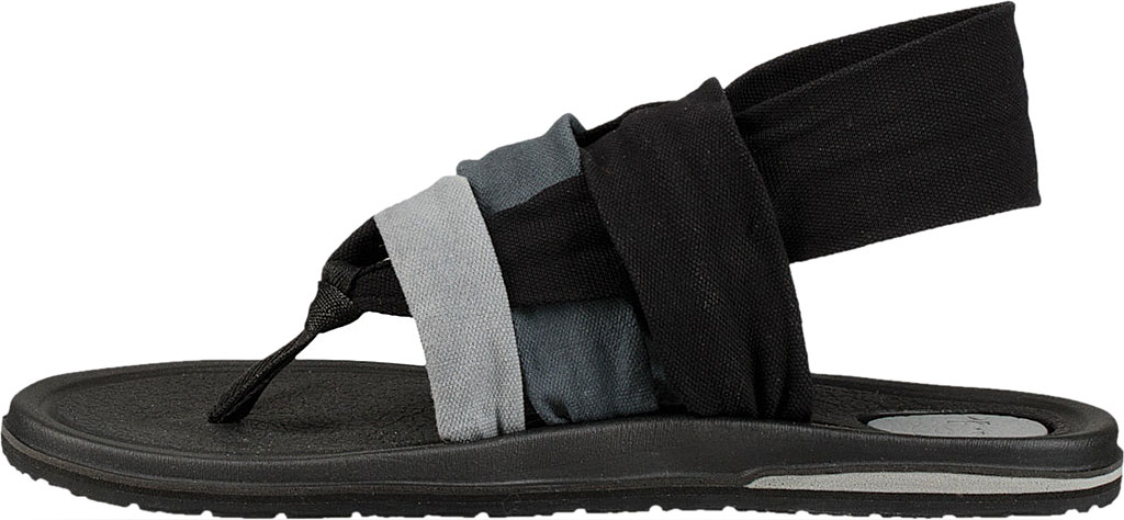 Women's Sanuk Yoga 3 Strap Slingback, Gradient Grey/Black Canvas, large, image 3