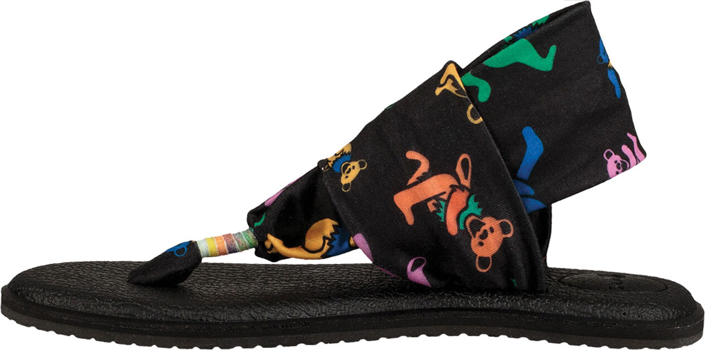 Women's Sanuk Yoga Sling 2 Grateful Dead Thong Sandal, Dancing Bears Stretch Knit, large, image 3